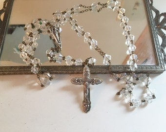 Vintage Rosary Beads Aurora Borealis Shimmery Prayer Beads with Silver Tone Cross