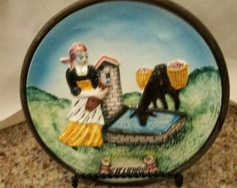 Ceramic Italian Plate Calabria  Peasant Girl At the Well With Donkey