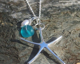 ALOHA SALE.... XL Sterling Silver Starfish Necklace - Bridesmaid, Beach Wedding, Tropical, Beach