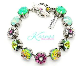 KALEIDOSCOPE 47ss Mixed Media Bracelet Made With Swarovski Elements *Antique Silver *Karnas Design Studio *Free Shipping*