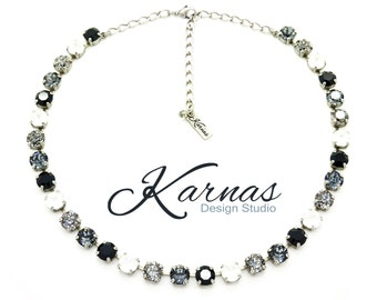 WHITE & BLACK 8mm Crystal Chaton Necklace Made With Swarovski Elements *Pick Your Finish *Karnas Design Studio *Free Shipping*