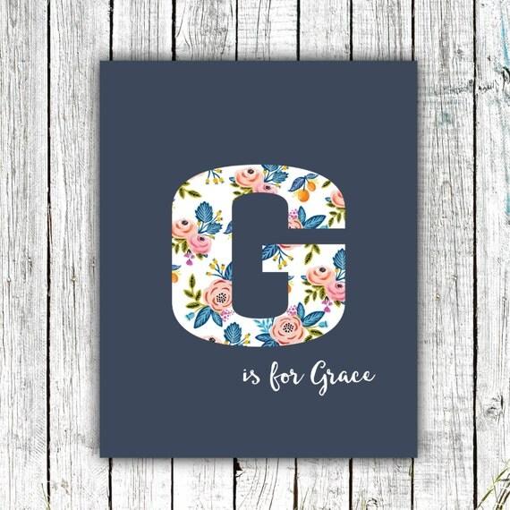 Nursery Art Monogram, Floral, Baby Girl, Personalized, Digital Download Size 8x10 #6