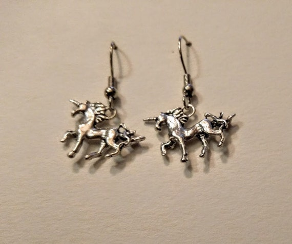 Unicorn Charm Earrings Hook Earrings For Sensitve Ears Fantasy