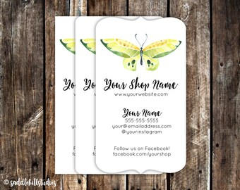 Business Cards - Custom Business Cards - Personalized Business Cards - Mommy Calling Cards - Green Butterfly - P0119-7