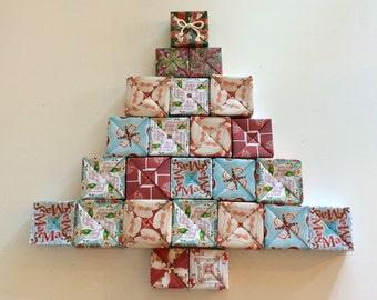 Calendario dell'avvento con 24 Eco Box-Advent 24 eco box calendar-Contdown to Christmas-Conto alla rovescia a Natale-Riutilizzabile-Reusable