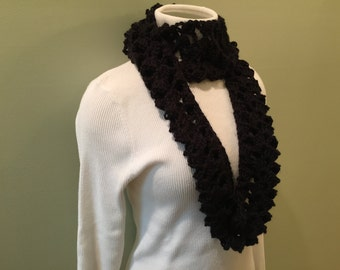 Scarf, women, infinity, cowl, handmade, crochet, soft acrylic yarn, black, accessory
