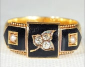 SALE Antique Victorian Memorial Ring with Black Enamel, Diamonds and Pearls