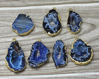 Blue Agate Druzy Druzzy Drusy Slice Freeform Pendant with Gold Electroplated Edge (S50W2_20)