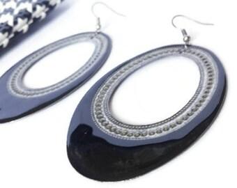 Black and Silver Earrings, Hoop Earrings, Earrings, Big Earrings