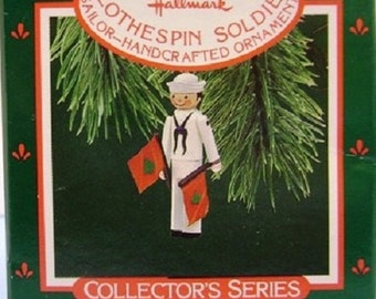 1987 Clothespin Soldier Navy Hallmark Retired Series Ornament