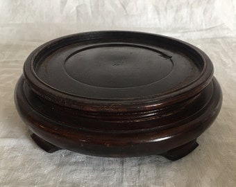 "Vintage Chinese Hardwood Carved Wood Stand 5.75"" inside Diameter"