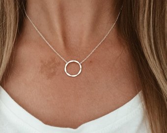 """Silver Hammered Infinity Karma Circle - Sterling Silver - 14"""", 16"""", 18"""", 20"""""""