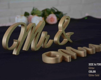 Glitter Mr & Mrs Sweet Heart Table Sign, Freestanding Mr and Mrs sign, Sweetheart table, Reception, Bridal Decoration