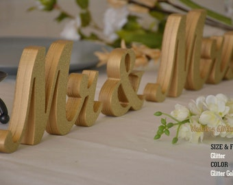 Wedding Signs, Mr & Mrs Signs, Mr Mrs Gold and Silver Glitter