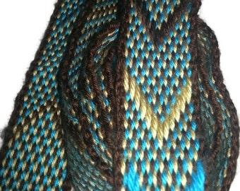 "Handwoven Inkle belt, 1 1/2"" x 60"", acrylic, Chocolate Brown, Turquoise, Harvest Yellow, Sca, belt, sash, belt, inkle, Renaissance"