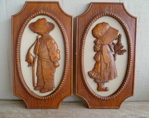 Holly Hobbie 2 pc Wall Plaques 1972 American Greetings