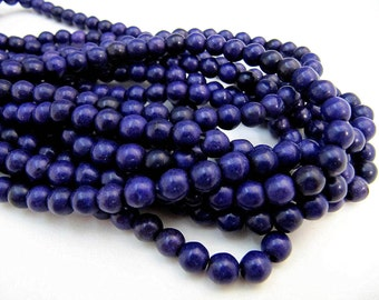 Turquoise Bead Strand, Synthetic, Dark Purple, Dyed, Round, 6 mm, 67 Piece Strand, Sale, Jewelry Supply