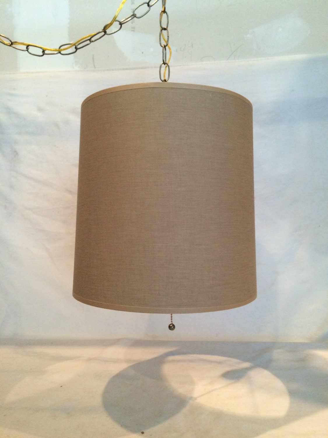 mid century modern swag fabric hanging lamp plug by cosaslighting. Black Bedroom Furniture Sets. Home Design Ideas