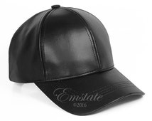 Genuine Cowhide Leather Baseball Cap Adjustable, Many Colors, Made in USA