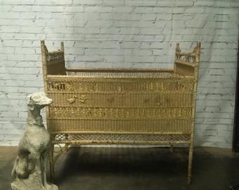 Antique wicker crib / doll crib / perfect display