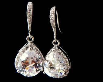 Wedding Jewelry Bridal Jewelry, Sensitive Skin Teardrop, Dangle Cubic zirconia, Bride Earrings, White Gold Earrings, Free US Shipping