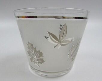 Mid Century Libbey Starlyte Silver Leaf Ice Bucket