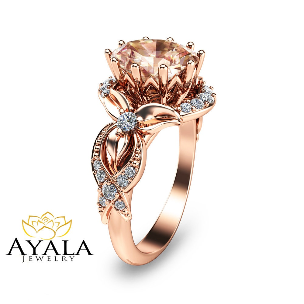 14K Rose Gold Morganite Engagement Ring Oval by AyalaDiamonds