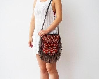 Vintage Shoulder Bags,crossbody bags,fringe,bohemian,embroidery,ethnic,tribal,boho,gypsy,leather