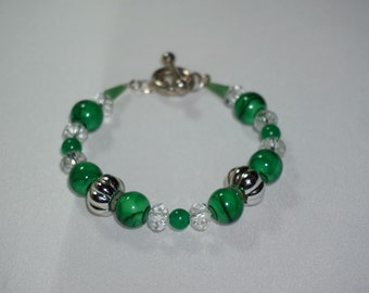 Green Chunky Lightweight,   Crystal and Green,  Toggle and Clasp,  Bracelet,   Handcrafted Jewelry,  Ready To Ship