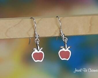 Sterling Silver Red Apple Earrings Fishhook Earwires Solid .925
