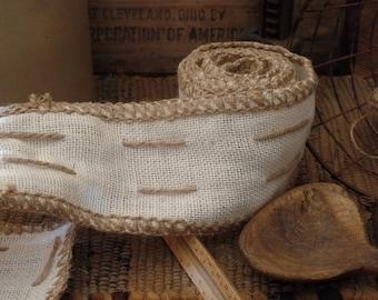 Jute Stitched Burlap Ribbon~Cream~Natural~3 Yards~Bows~Primitives~Weddings~Garland~