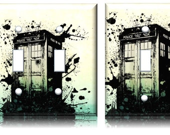 Doctor Who light switch cover // Whovian Tardis Booth DWAS Fandom splash // SAME Day SHIPPING**