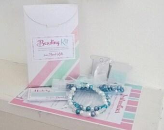 DIY Jewellery Making Kit for Kids - Blue Elastic Stretch Bracelet, Craft Kit, Beading Kit, Beads for Kids, Bracelet Kits