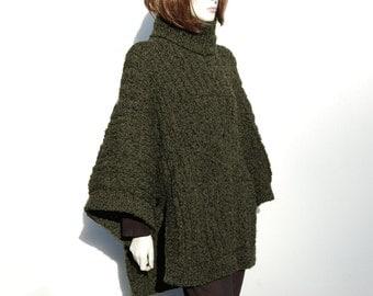 Hand Knit Sweaters, Woman Poncho,  Women Ponchos, Handmade Ponchos,  Women Sweater,Green Womens Ponchos, Hand Knitted Ponchos Women