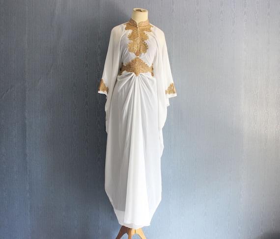 White moroccan maxi kaftan dress bridesmaid wedding by yosika for White kaftan wedding dress