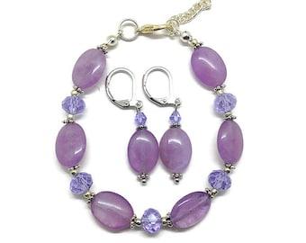 Amethyst Earrings, Amethyst Bracelet, Amethyst Jewelry Set, Purple Earrings, Purple Bracelet, Purple Jewelry Set, Bracelet and Earrings  Set