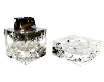 Cut Crystal Ashtray and Table Lighter, Mid Century Decor, 1970s Mod