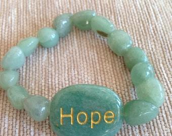 Hope Stone Bracelet,Reiki Infused Aventurine Gemstone ,Handmade,Healing Bracelet,Reiki Charged