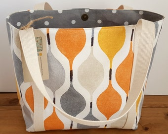 Summer beach tote, Orange canvas tote bag, Women's large handbag,  Gift for her, Teacher gift, Vacation carry on, Shopping carry all