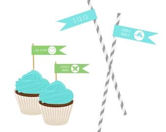 Straw Flag Labels / Silhouette Wedding Straw Tags / Wedding Labels for Straws / Wedding Straw Flags / Set of 20