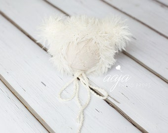 Baby bear bonnet in off white/cream, super fluffy funny bonnet, sizes available,  size newborn Photo prop