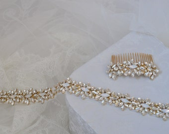 OPAL Gold Crystal Bridal Belt and Hair Comb