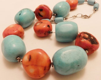 Sterling Silver Coral and Turquoise Color Gemstone Bead Necklace