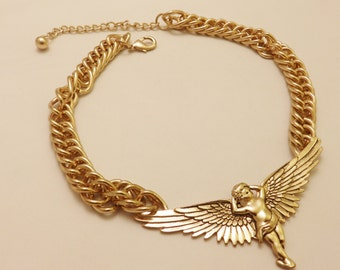 Gold Tone  Angel Large Link Statement Necklace