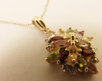 Sterling Silver Crystal Pendant  Necklace with Gold Overlay