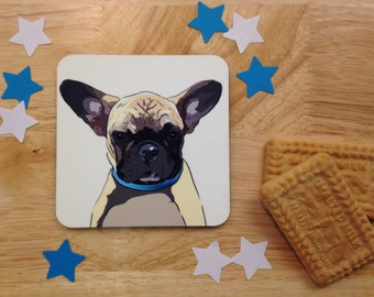 French bulldog coaster. Digital art. Dog coasters. Frenchy. Frenchie. Beverage drink coaster. Dog