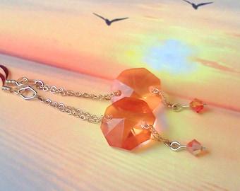Crystal Earrings, Handmade Earrings, Orange Earrings, Sunset Crystal Earrings, Prism Earrings, Orange Prism Earrings, Chain n Prism Earrings