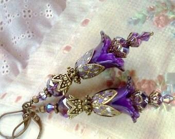 Hand Painted Earrings, Handmade Earrings, Lucite Earrings, Purple Earrings, Victorian Earrings, Plique a Jour, Violet Earrings, Royal Blue