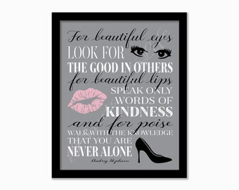 Audrey Hepburn quote. For beautiful eyes. Instant download print. PDF JPG diy printable. Subway art. Wall art. Home decor. Poster. Artwork.
