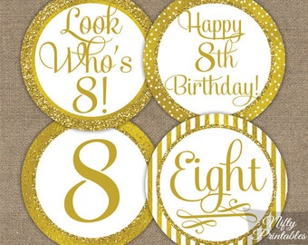 8th Birthday Cupcake Toppers - Gold 8th Birthday Toppers - Printable 8 Years Birthday Party Decorations - 8th Birthday Favor Tags GLD